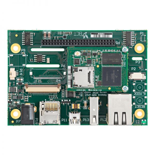 Top view of TM1 module and HB5 carrier board