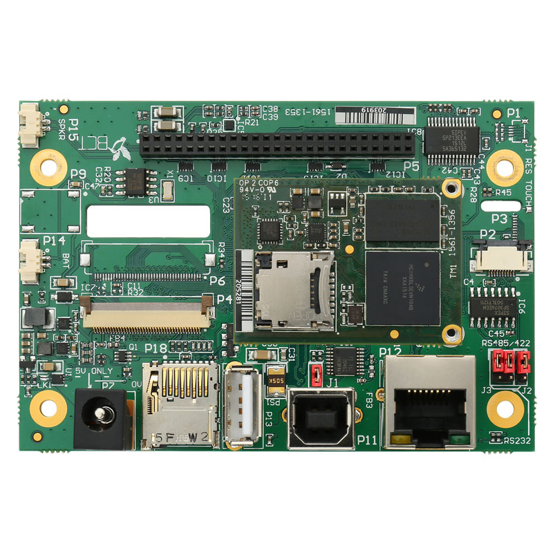 Top view of TM1 module and HB6 carrier board
